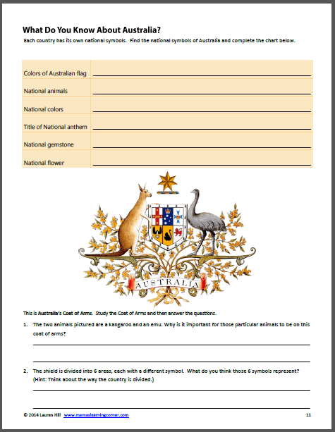 Australia Worksheets