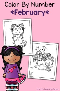 Color By Number Worksheets: February