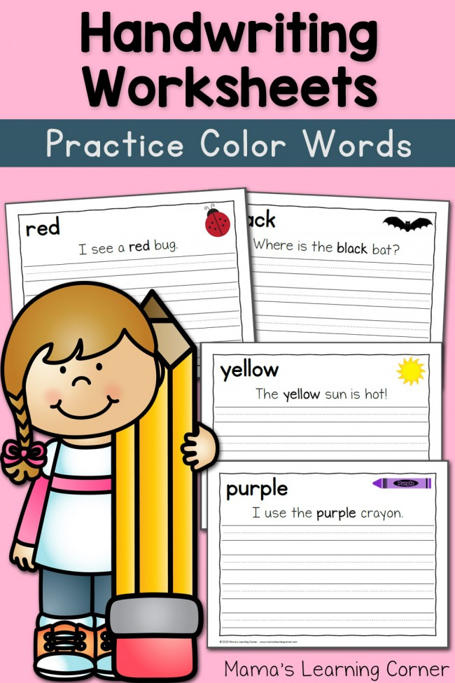 Handwriting Worksheets for Kids: Colors