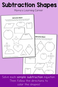 Subtraction Shapes: Free Subtraction Worksheets