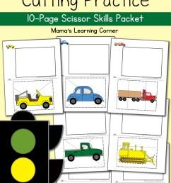 Cutting Practice Worksheets: Transportation! - Mamas Learning Corner [ 1500 x 1000 Pixel ]