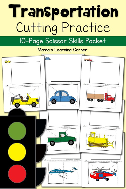 small resolution of Cutting Practice Worksheets: Transportation! - Mamas Learning Corner