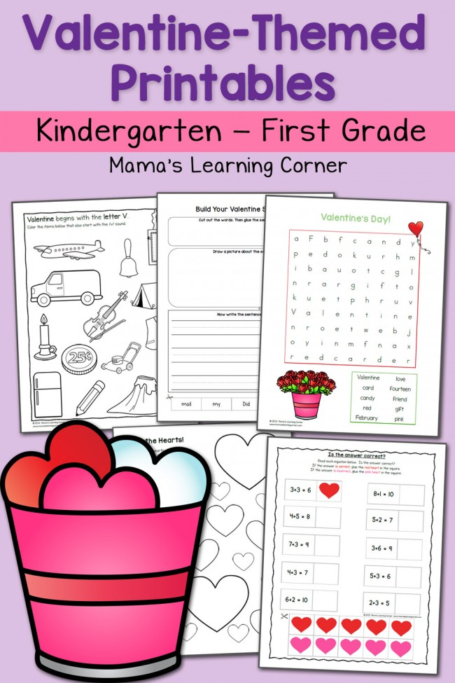 Valentine Worksheets: Kindergarten and First Grade
