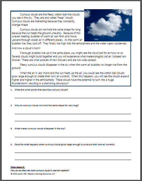 water cycle diagram worksheet to label 2003 nissan altima parts clouds and the worksheets - mamas learning corner