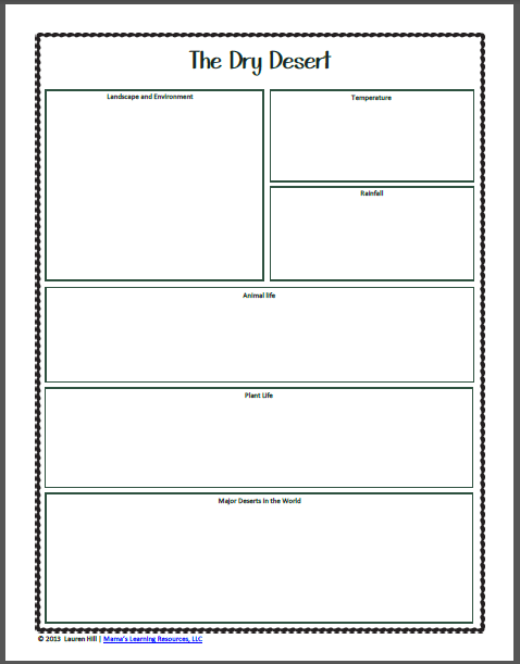 Desert Worksheets - Mamas Learning Corner
