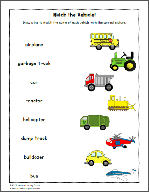 Transportation Worksheets