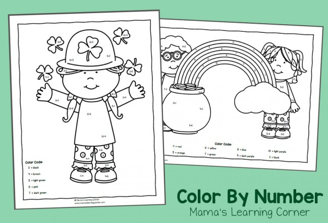 Color By Number Worksheets for St. Patrick's Day