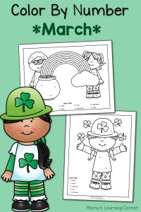 Color by Number Worksheets for March: St. Patrick's Day!