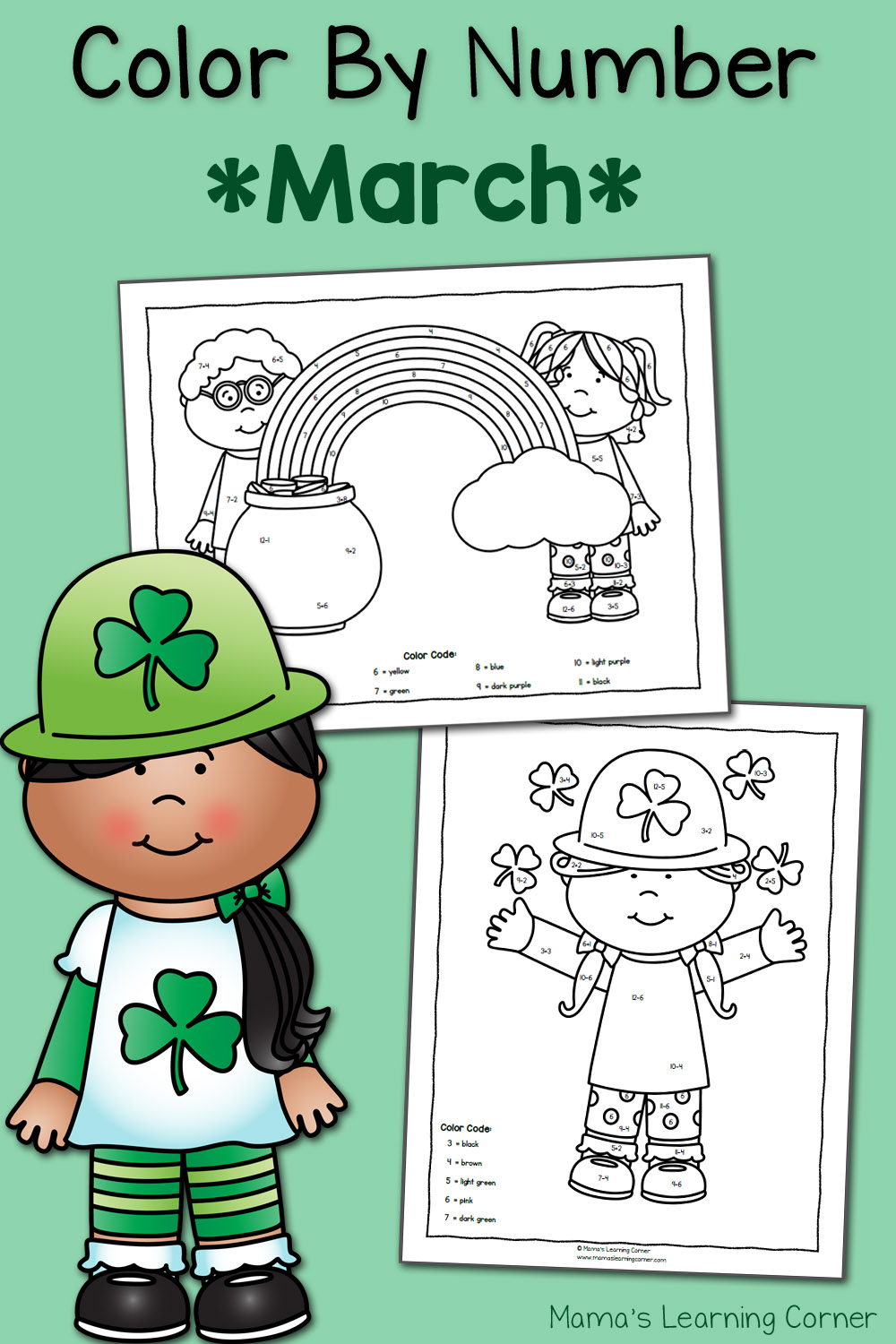 medium resolution of Color by Number Worksheets for March: St. Patrick's Day! - Mamas Learning  Corner