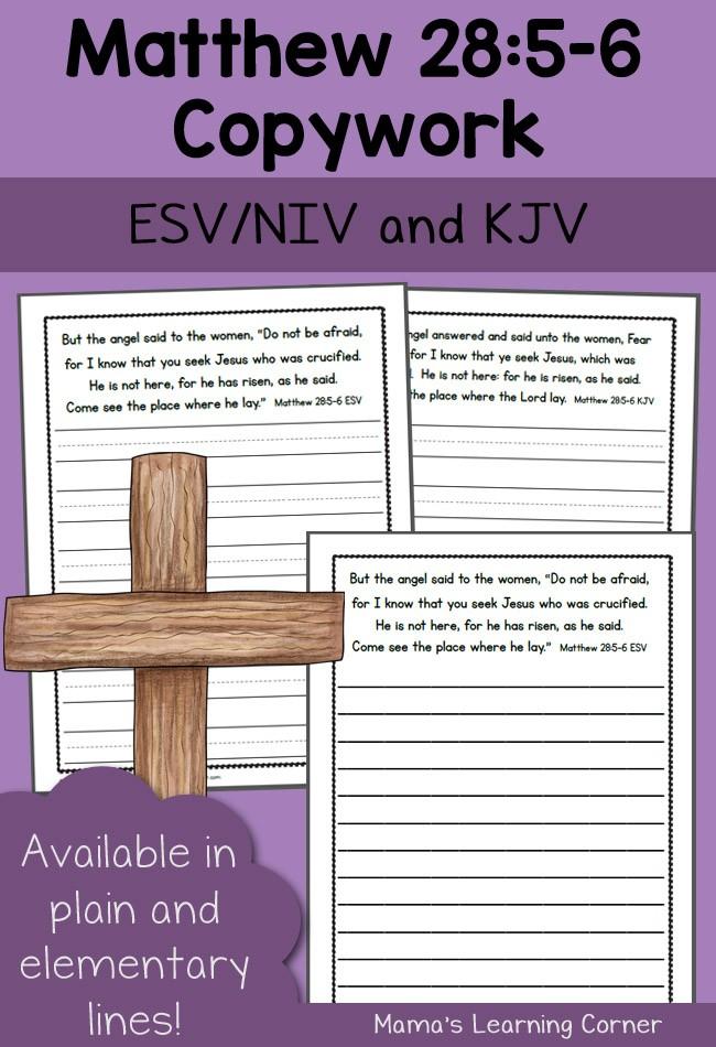 Free Bible Copywork: Matthew 28