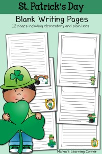 St. Patrick's Day Blank Writing Pages