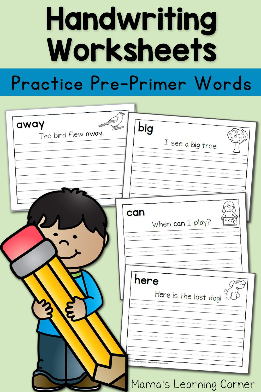 Handwriting Worksheets for Kids: Pre Primer Sentences