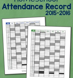 Homeschool Attendance Record 2015-2016: Free Printable - Mamas Learning  Corner [ 1000 x 800 Pixel ]
