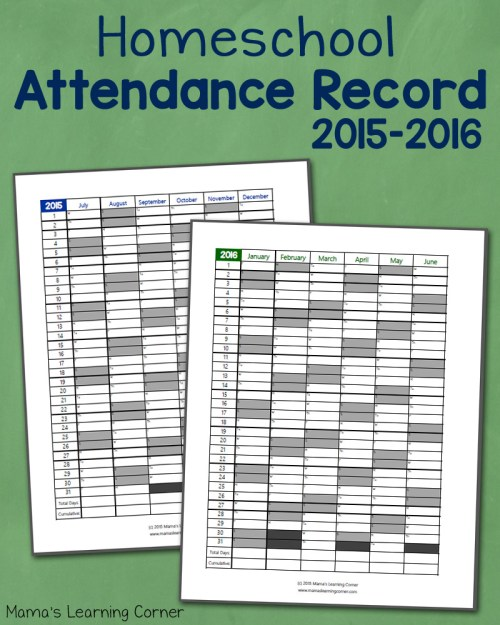 small resolution of Homeschool Attendance Record 2015-2016: Free Printable - Mamas Learning  Corner