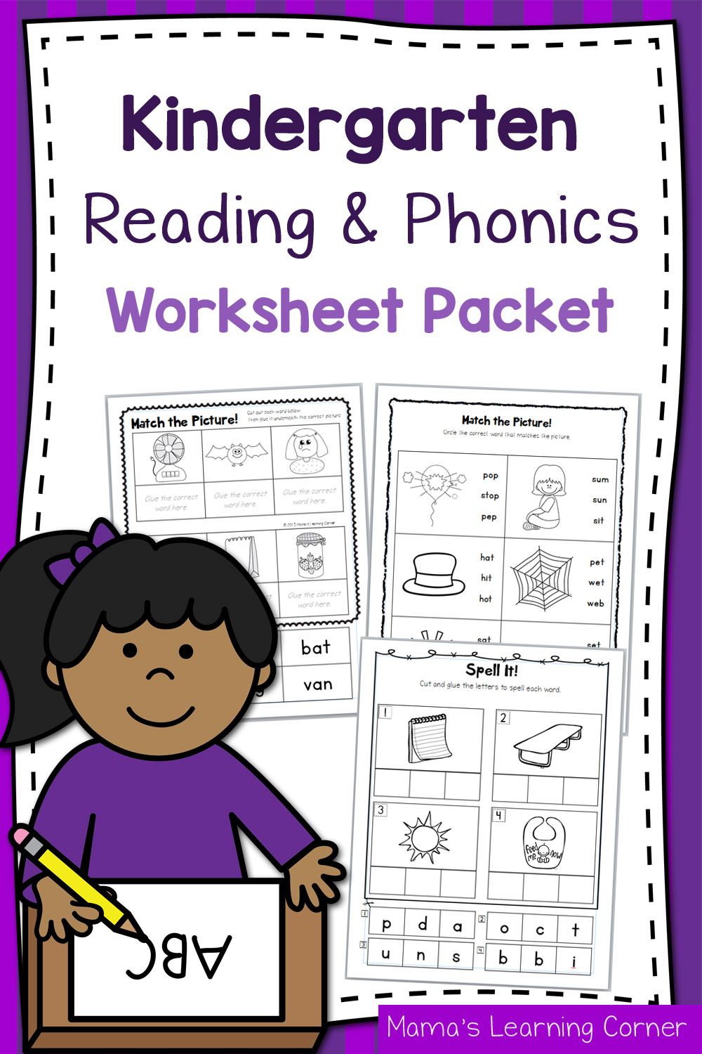 medium resolution of Kindergarten Reading and Phonics Worksheet Packet - Mamas Learning Corner