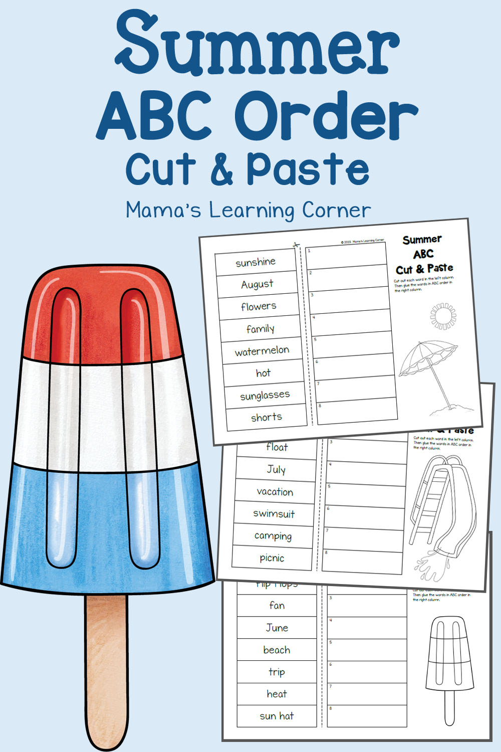 hight resolution of Summer Cut and Paste: ABC Order Worksheets - Mamas Learning Corner