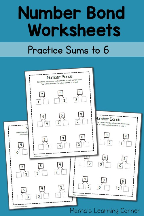 small resolution of Number Bond Worksheets: Sums to 6 - Mamas Learning Corner