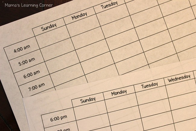 How to Find More Time In My Homeschool Day: Blank Hourly Schedule