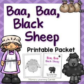 Baa Baa Black Sheep Nursery Rhyme Packet