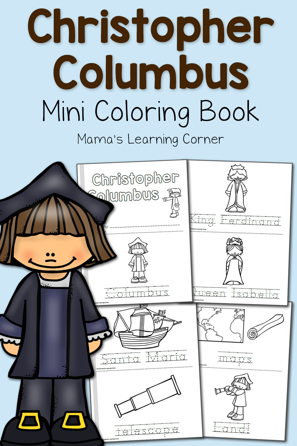 hight resolution of Christopher Columbus Coloring Pages - Mamas Learning Corner