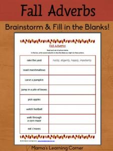 Fall Adverbs Worksheet