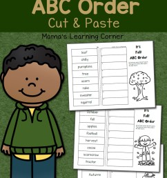 Fall Cut and Paste: ABC Order Worksheets - Mamas Learning Corner [ 1500 x 1000 Pixel ]