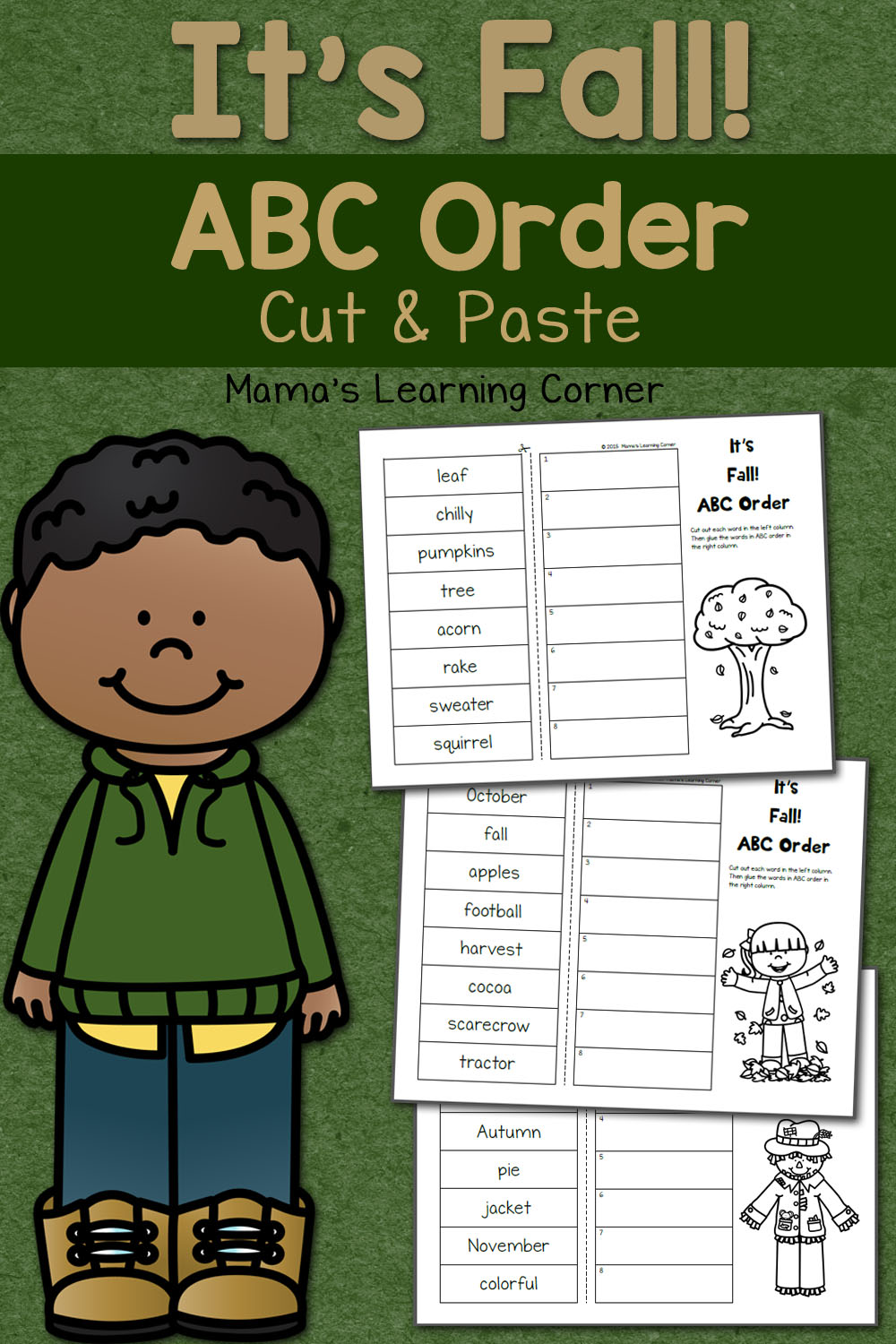 medium resolution of Fall Cut and Paste: ABC Order Worksheets - Mamas Learning Corner