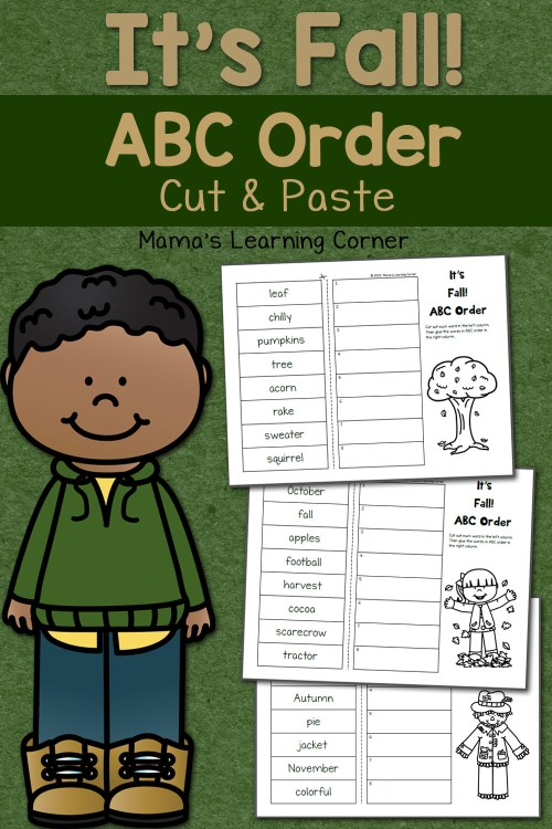small resolution of Fall Cut and Paste: ABC Order Worksheets - Mamas Learning Corner