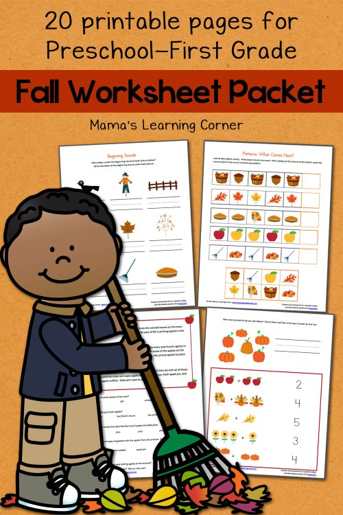 small resolution of Fall Worksheet Packet for Preschool-First Grade - Mamas Learning Corner