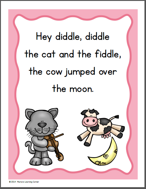 Hey Diddle Diddle Nursery Rhyme Packet Mamas Learning Corner