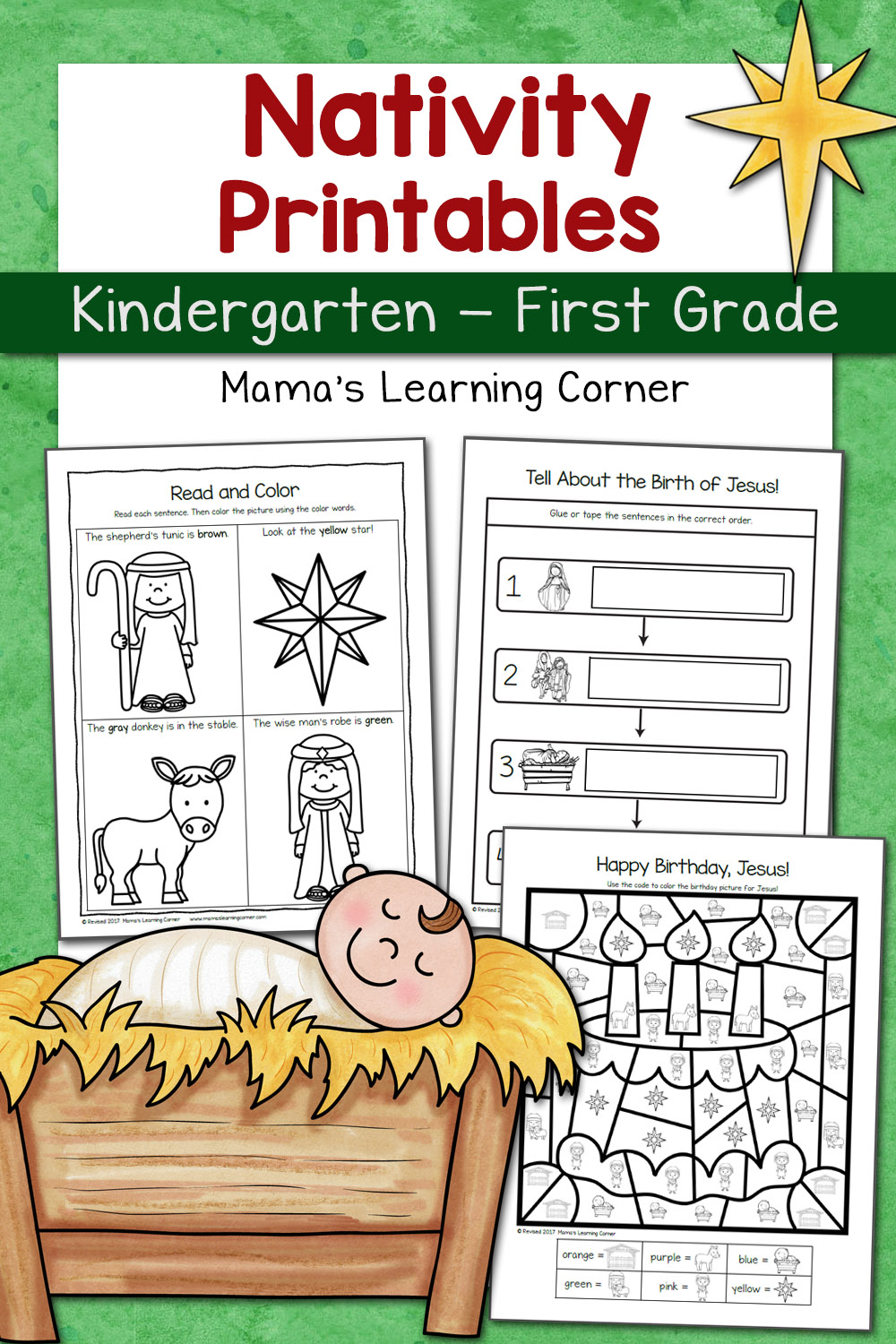 medium resolution of Nativity Worksheet Packet for Kindergarten and First Grade - Mamas Learning  Corner