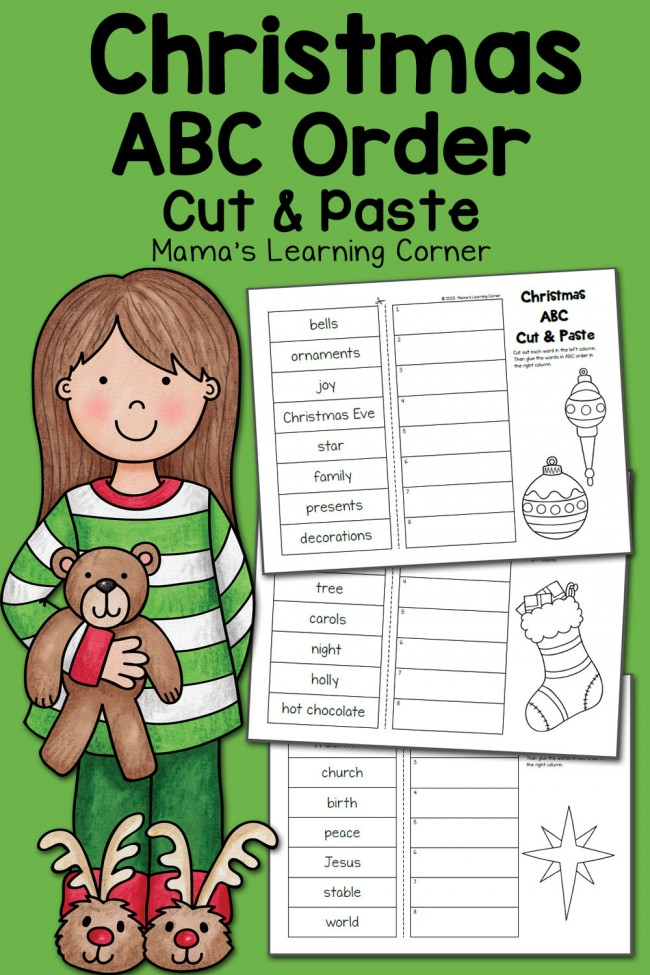 Christmas ABC Order Worksheets: Cut and Paste