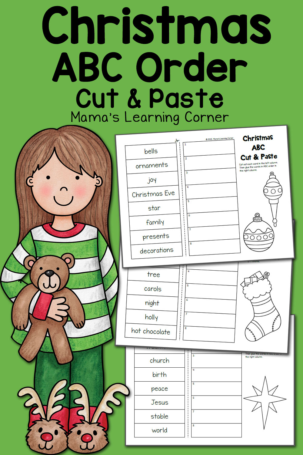 medium resolution of Christmas ABC Order Worksheets: Cut and Paste! - Mamas Learning Corner