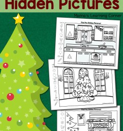 Christmas Hidden Pictures Worksheets - Mamas Learning Corner [ 1500 x 1000 Pixel ]