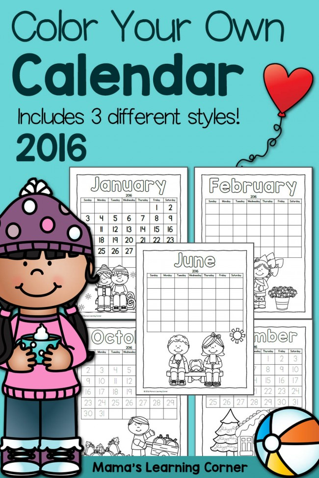 photo relating to Fun Printable Calendar named Printable Calendar for Youngsters 2016 - Mamas Understanding Corner