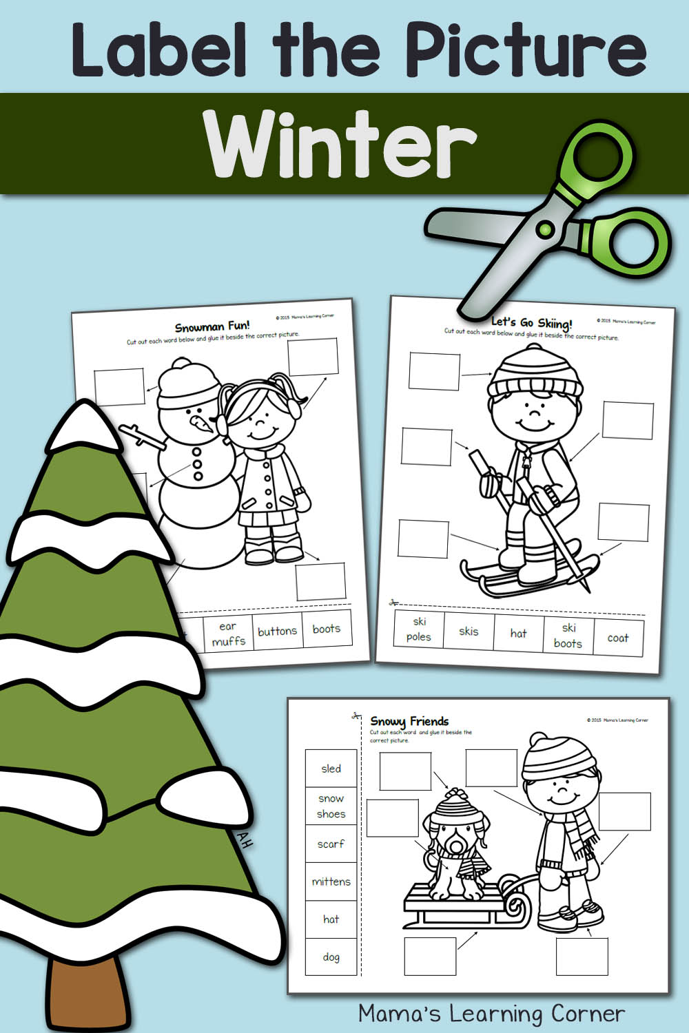 medium resolution of Winter Label the Picture: Cut and Paste! - Mamas Learning Corner