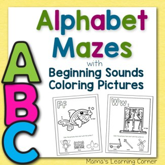 Alphabet Mazes with Beginning Sounds Coloring Pictures