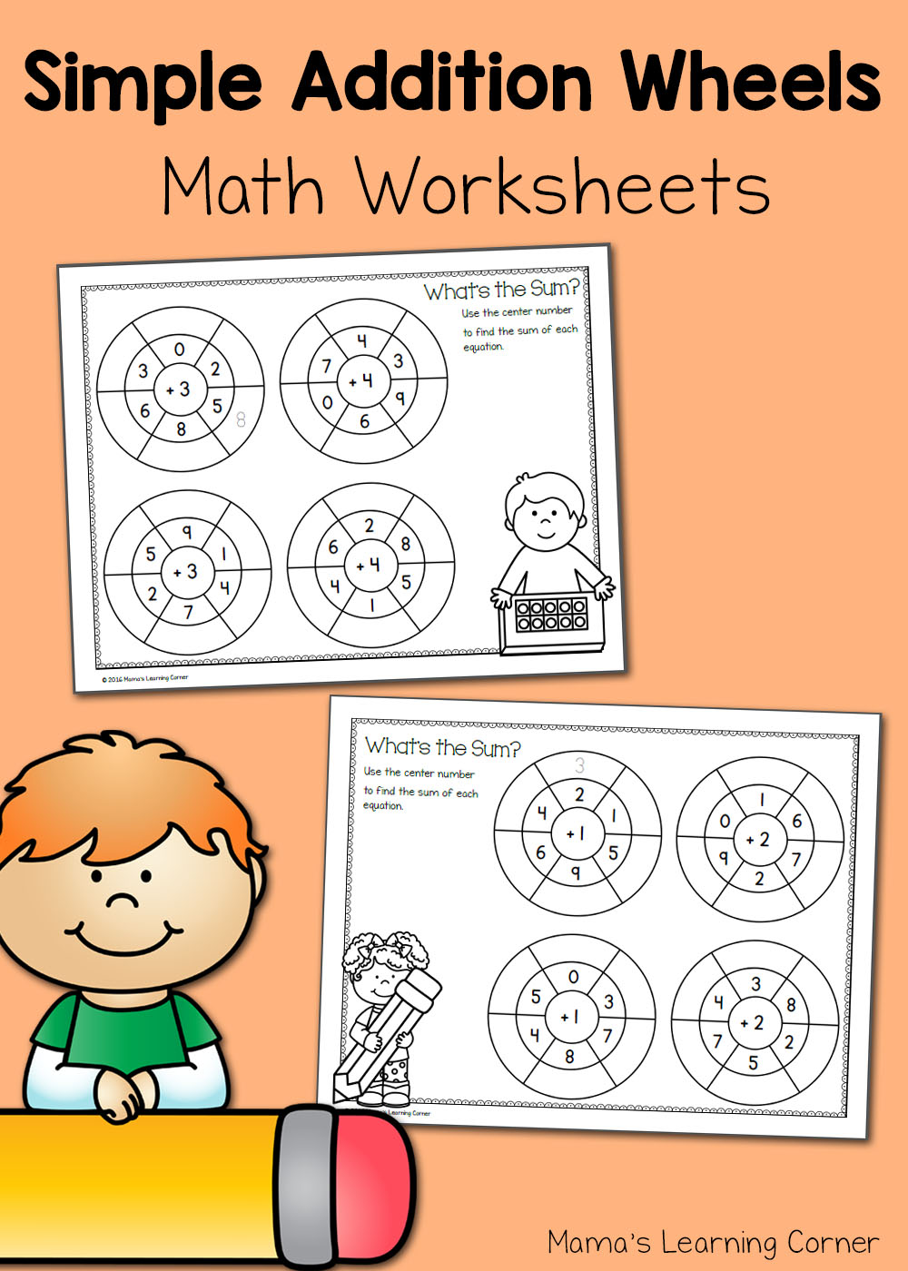 medium resolution of Simple Addition Wheels: Math Worksheets - Mamas Learning Corner