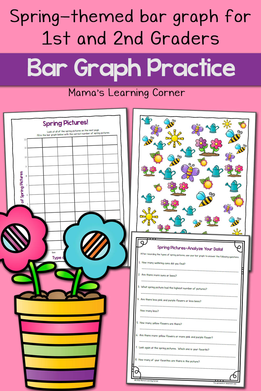 hight resolution of Spring Picture Bar Graph Worksheets - Mamas Learning Corner