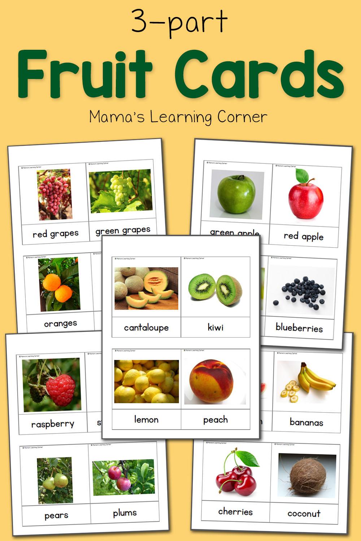 Fruit 3Part Cards  Mamas Learning Corner