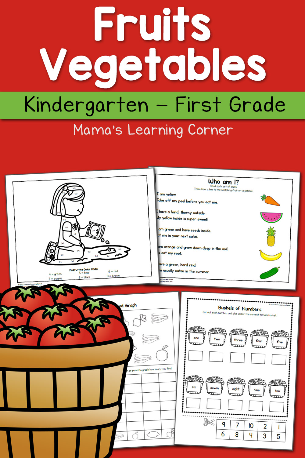 medium resolution of Fruit and Vegetable Worksheets for Kindergarten and First Grade - Mamas  Learning Corner