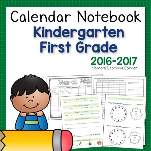 Calendar Notebook Kindergarten First Grade 2016-2017