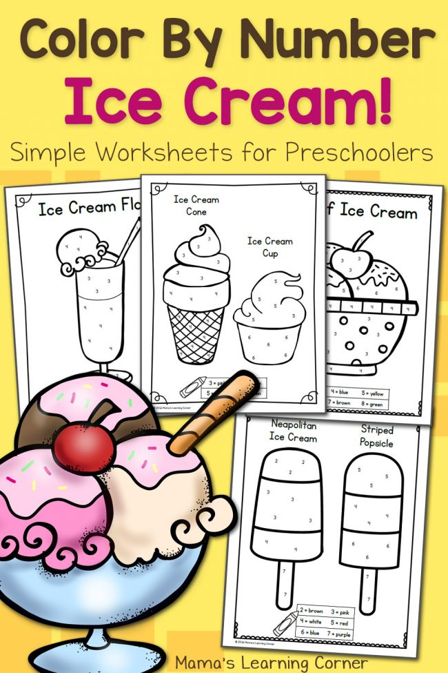 Color By Number Worksheets for Preschool: Ice Cream! 8 printable pages!