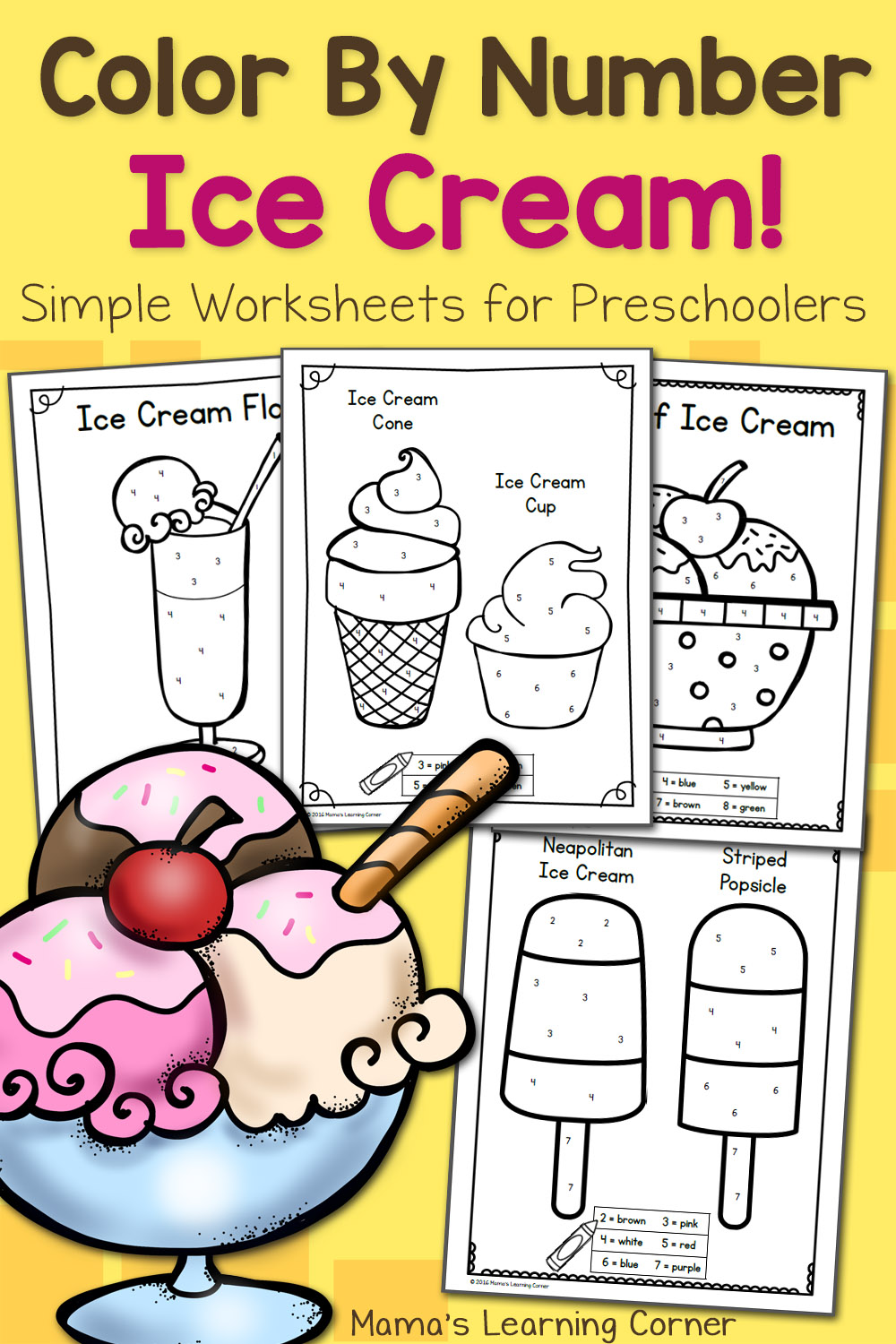 Color By Number Worksheets for Preschool: Ice Cream ... | colouring worksheets for kindergarten