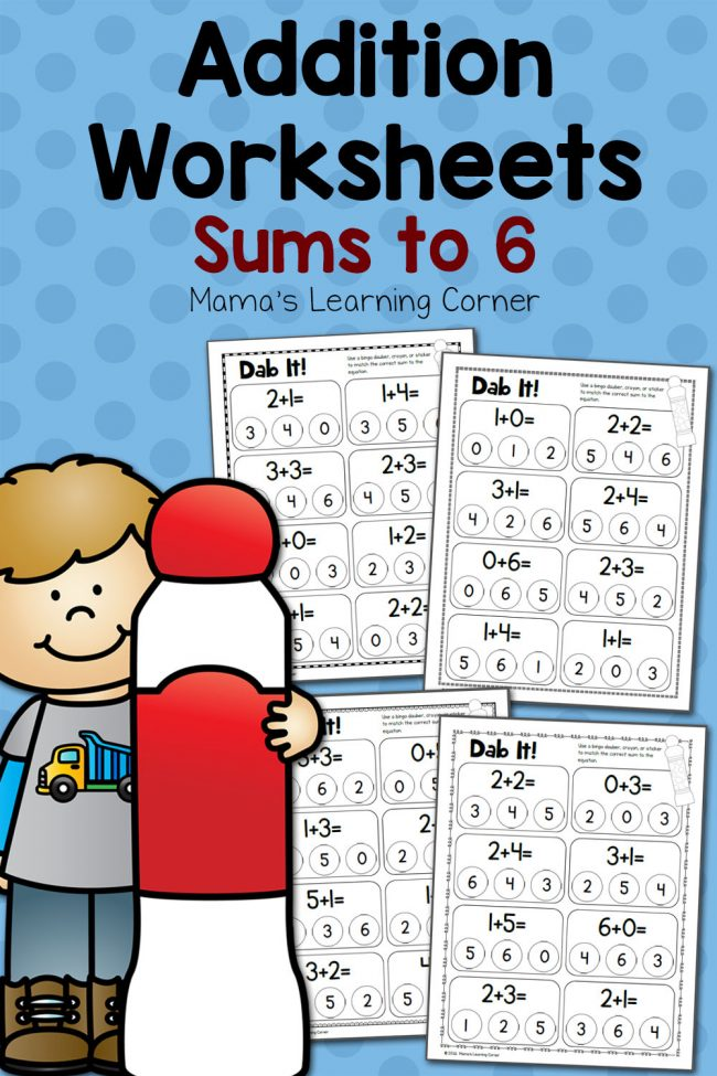 Dab It! Addition Worksheets Sums to 6