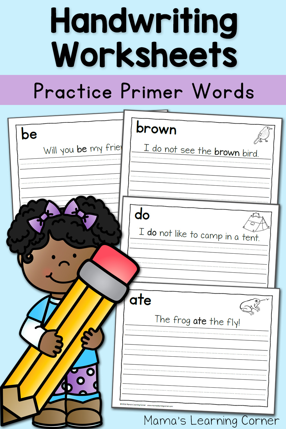 hight resolution of Handwriting Worksheets for Kids: Dolch First Grade Words - Mamas Learning  Corner