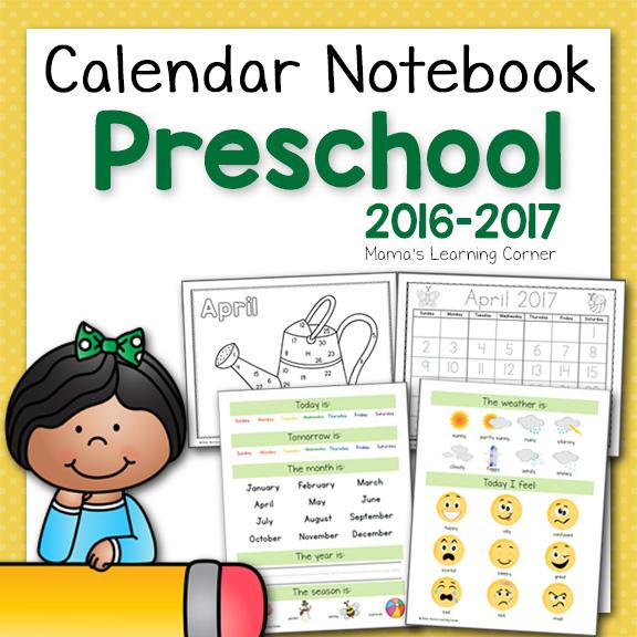 Preschool Calendar Notebook For 2016 2017 Mamas Learning