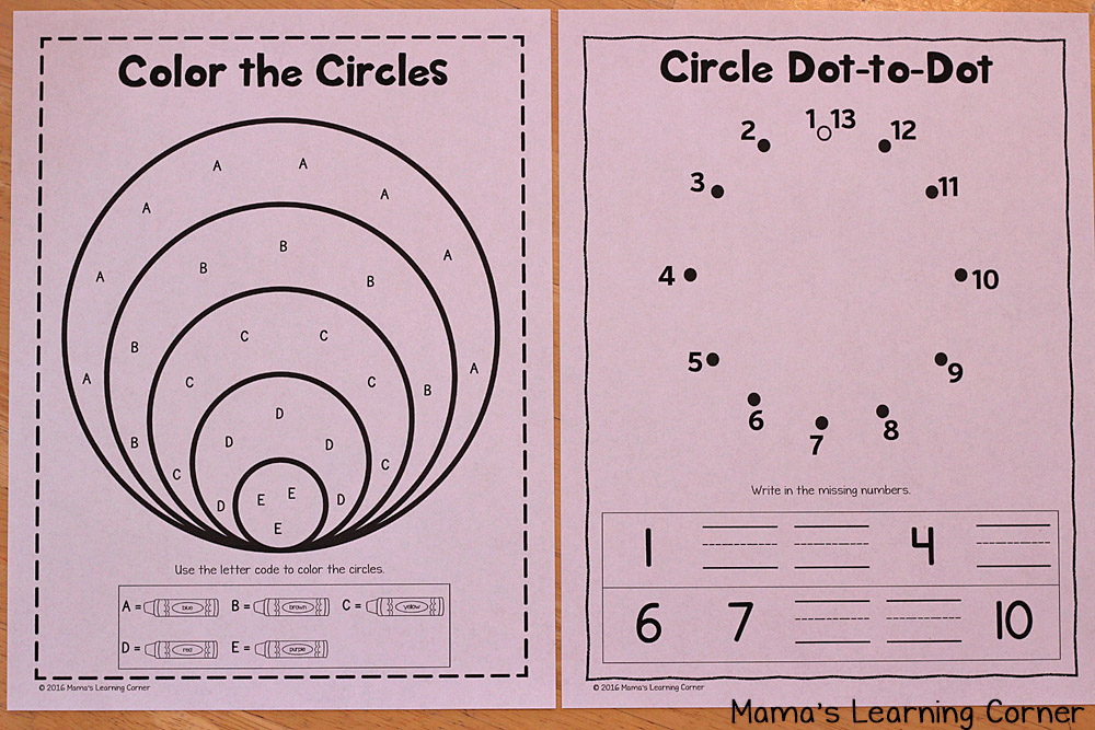 Circle Worksheets for Preschoolers and Kindergartners