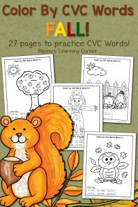 Fall Color By CVC Words Worksheet Packet with a free download!