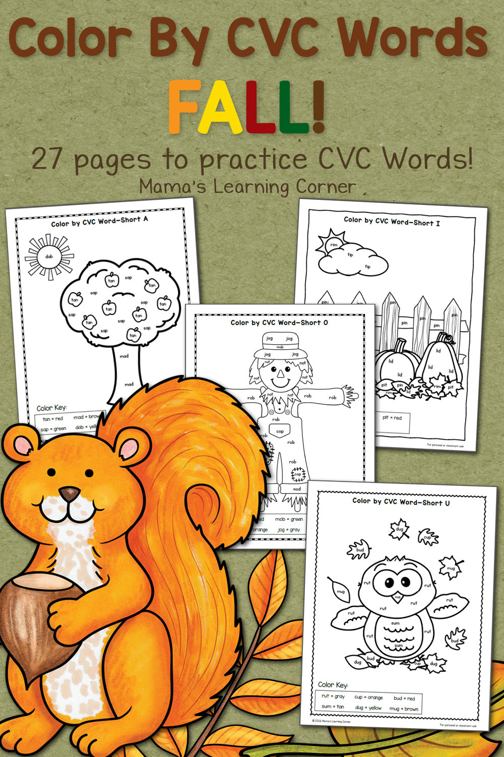 hight resolution of Fall Color By CVC Words Worksheet Packet with a free download! - Mamas  Learning Corner